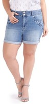 Plus Size Women's Addition Elle Love And Legend Embroidered Denim Roll Cuff Shorts