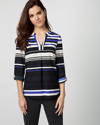 Le Château Stripe Crepe de Chine & Knit Top