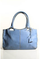 Tod's Blue Leather Silver Tone Double Handle Tote Handbag