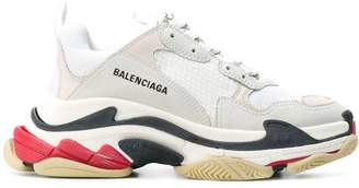 Balenciaga red and black detail triple s sneakers
