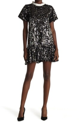 MelloDay Sequin Dropwaist Removable Collar Dress
