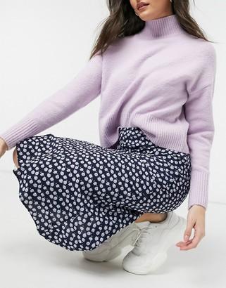 Glamorous midi skirt in purple ditsy floral