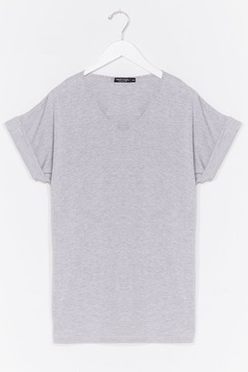 Nasty Gal Womens Leave It to V-Neck Relaxed Tee - Grey