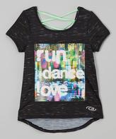 CB Sports Black & Green 'Run Dance Love- Strappy-Back Tee - Tween
