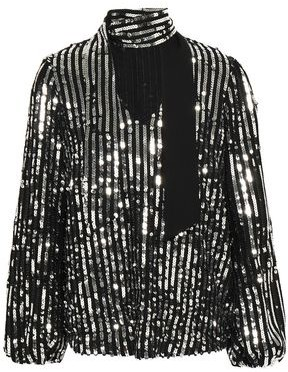 Rixo Moss Tie-neck Sequined Crepe Blouse