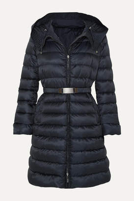 Max Mara The Cube Hooded Belted Quilted Shell Down Coat - Navy