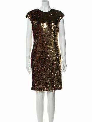 Naeem Khan Crew Neck Knee-Length Dress w/ Tags Metallic
