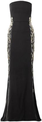Reem Acra Embellished Tulle-trimmed Silk-crepe Gown