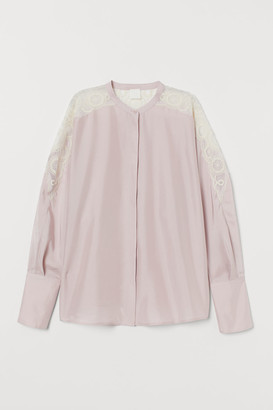 H&M Silk Blouse with Lace - Pink