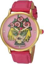 Betsey Johnson Women's BJ00496-53 Lenticular Printed Roses Emoji Motif Watch