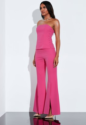 Missguided Fuchsia Button Detail Structured Bustier Top