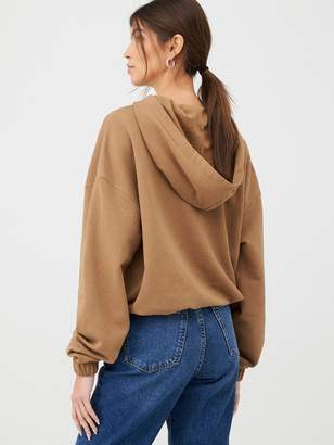Very Mock Horn Button Cropped Hoody - Camel