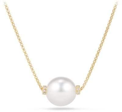 David Yurman Solari Single Station Necklace In 18K Gold With Diamonds