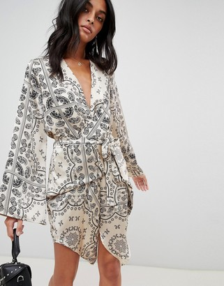 Love & Other Things Paisly Print Wrap Dress
