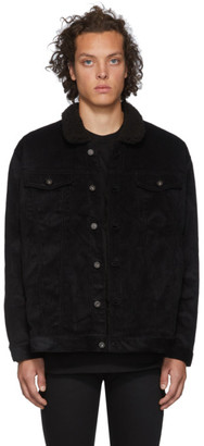 Naked and Famous Denim SSENSE Exclusive Black Corduroy Oversized Sherpa Jacket