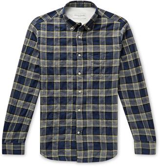 Officine Generale Button-Down Collar Checked Cotton-Blend Flannel Shirt