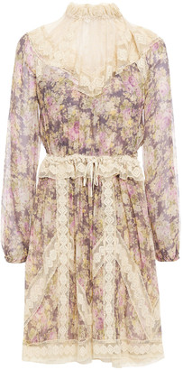 Zimmermann Sabotage Lace-trimmed Floral-print Silk-georgette And Point D'esprit Dress
