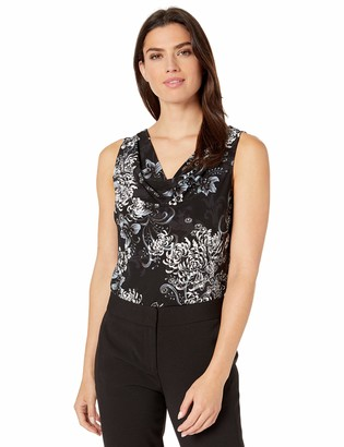 Nine West Women's Sleeveless Floral Printed Knit TOP