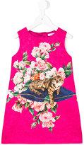 Dolce & Gabbana floral cat print dress - kids - Silk/Cotton/Viscose - 4 yrs