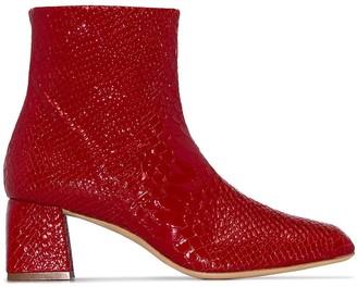 Kalda Marti 45mm snake-effect ankle boots