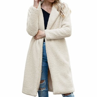 Willtop Women's Vintage Faux Fur Lapel Long Coat Winter Thick Warm Teddy Bear Fuzzy Fleece Jackets Trench Coat Open Front Loose Outwear Parka Overcoat Office Lady Soft Open Front Furry Fluffy Cardigan