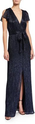 Halston Textured Metallic Jersey V-Neck Split-Sleeve Gown