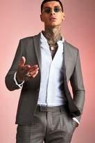 BoohoomanBoohooMAN Mens Brown Heritage Gingham Skinny Fit Suit Jacket, Brown