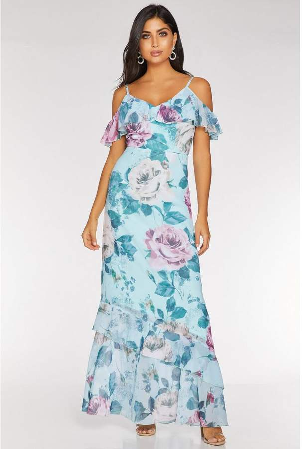 Quiz Aqua and Pink Floral Cold Shoulder Maxi Dress