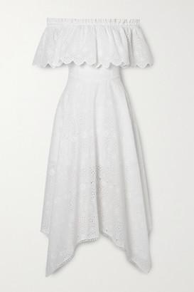 Charo Ruiz Ibiza Khadi Asymmetric Off-the-shoulder Broderie Anglaise Cotton-blend Midi Dress - White