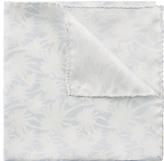 Jaeger Silk Palm Print Pocket Square, Silver/grey