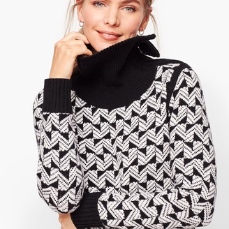 Talbots Geo Jacquard Split Neck Sweater