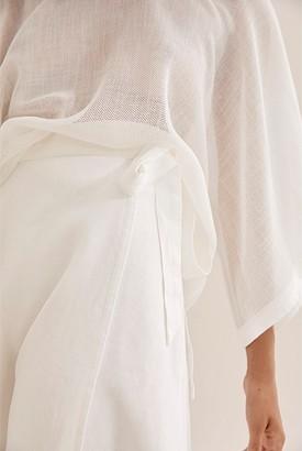 Country Road Linen Wrap Midi Skirt