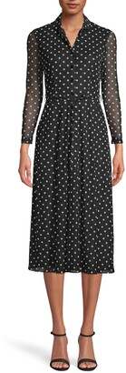 Anne Klein Polka Dot Long Sleeve Shirtdress