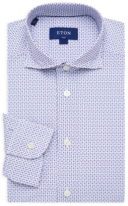 Eton Slim-Fit Micro Print Dress Shirt