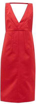 No.21 No. 21 - V-neck Satin Midi Dress - Womens - Red