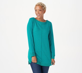 Denim & Co. Active Petite Brushed Heavenly Jersey Boatneck Tunic