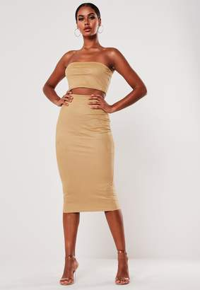 Missguided Mocha Faux Suede Bandeau Top And Midi Skirt Co Ord Set
