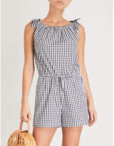 Tory Burch Gingham-patterned cotton-poplin playsuit