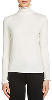 Oui Frill High Neck Silk Blend Jumper, Cloud Dancer