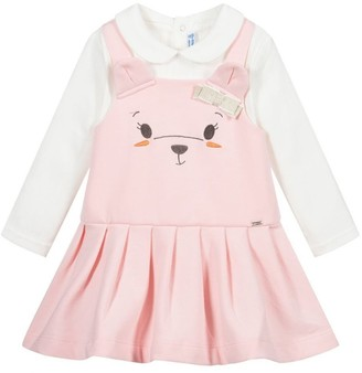 Mayoral Pink Teddy Pinafore Dress