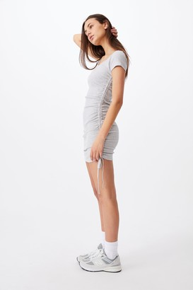 Short Sleeve Ruched Side Seam Dress
