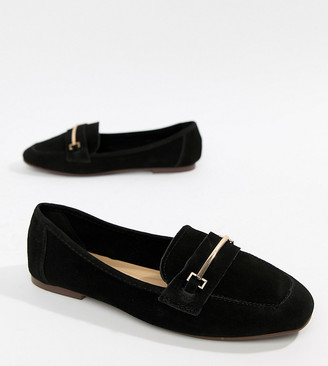 New Look Real Suede Loafer-Black