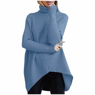 ZZXIAN Turtle Neck Jumpers Women Baggy Sweaters Fashion Casual Turtleneck Knit Pullover for Ladies Autumn and Winter (Sky Blue XXXL)