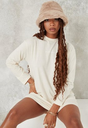 Missguided Ivory Long Sleeve T Shirt Dress