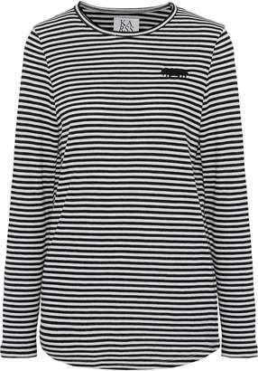 Zoe Karssen Embroidered Striped Cotton-blend Jersey Top