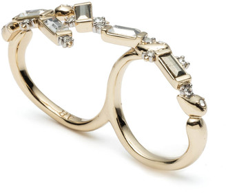 Alexis Bittar Crystal Baguette Double Finger Ring