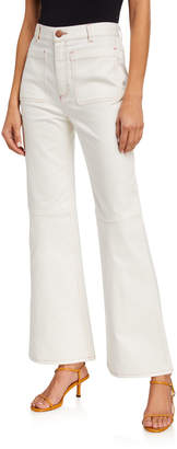 See by Chloe High-Rise Cropped Flare Pants w/ Contrast Stitching