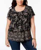 Style&Co. Style & Co Plus Size Print Pleated-Neck Top, Created for Macy's