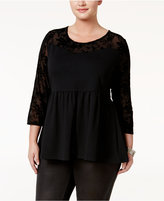 American Rag Trendy Plus Size Flocked Illusion Top, Only at Macy's