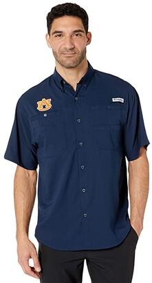 Columbia College Auburn Tigers Collegiate Tamiamitm II Short Sleeve Shirt (Collegiate Navy) Men's Short Sleeve Button Up
